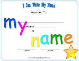 free preschool certificates i can write my name printable certificates preschool