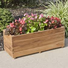 teak rectangular planter  outdoor