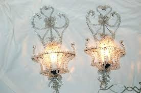 decoration vintage pair beaded crystal chandelier sconces bulb covers french style glass light
