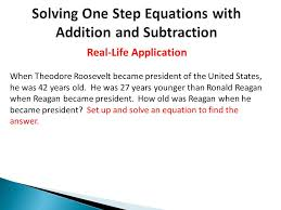 8 solving one step equations with addition and subtraction