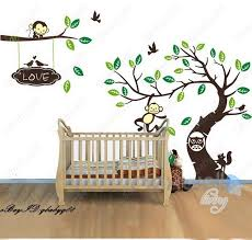 details about large monkey owl tree branch vinyl wall decal home sticker kids nursery mural l