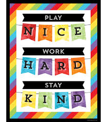 Learning Chart Play Nice Work Hard Stay Kind Chart