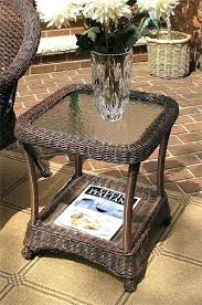 rattan end table veranda resin wicker end table with inset glass top antique brown round rattan rattan end table