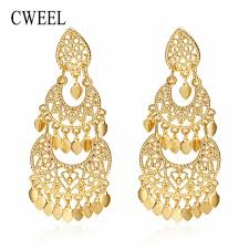 wedding earrings gold cweel drop earrings long women biohemian big gold color statement