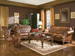 wood trim brown leather sofa loveseat