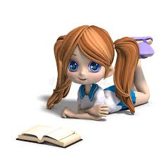 cute little cartoon reads a book 3d stock ilration ilration of