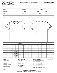 T Shirt Order Forms Template Free Under Fontanacountryinn Com