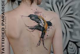 colorful birds flying tattoo. Simple Birds Cool Watercolor Flying Bird Tattoo On Girl Right Back Shoulder With Colorful Birds B