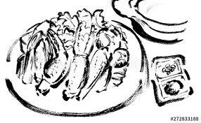 線画白黒モノクロかに鍋カニすき材料鍋鍋物かにカニ