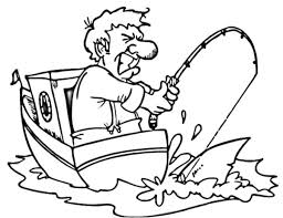 Small Picture Man on Boat Strike with Fishing Pole Coloring Pages Man on Boat