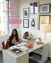 How to decorate office room Creative The Sorority Secrets Workspace Chic With Office Depotsee Jane Work Alis Picks i Think This Is The Monarch Desk From Staples Too Pinterest 528 Best Womens Office Decor Images Chairs Sofa Chair Living Room