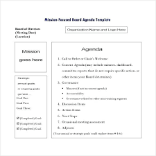 Sample Staff Meeting Agenda Template Mission Focused Board Download
