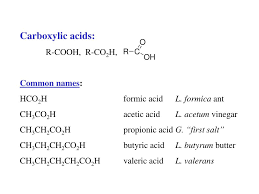 ch3co2h ppt carboxylic acids r cooh r co 2 h common names hco