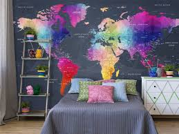 photo wallpaper world map colourful crystals 95018