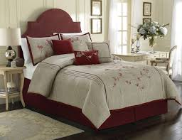Miki by Chezmoi Collection Luxury 7-piece Red Cherry Blossoms Floral  Embroidery Bedding Comforter Set