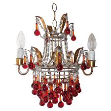 italian beaded red drops tole chandelier for