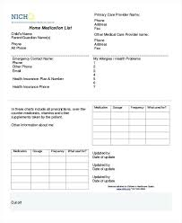 Medication Lists Templates Free Printable Medication List Template Wallet Images Of