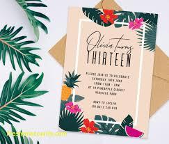 Tropical Party Invitations Hawaiian Birthday Party Invitations Best Of Tropical Birthday