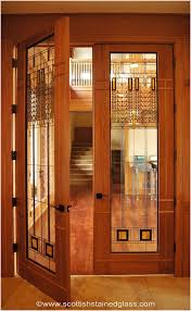 glass interior french doors warm scottish stained glass french door panels inspired by frank lloyd