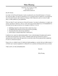 General Resume Cover Letter Sample Contractor For Wonderful