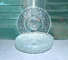 clear glass dessert plates 3 vintage silver damask salad square