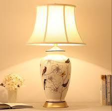 chinese rustic whiteu0026blue flower bird ceramic table lamps vintage linen shade copper base e27 led lamp table lamps e65