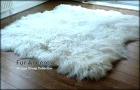 fur accents off white sheepskin area rug by faux mongolian fur rug