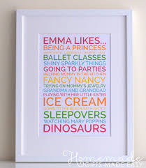 personalised baby gift likes poster