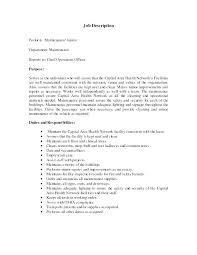 Janitorial Resume Objective Resume For Custodian Maintenance Man