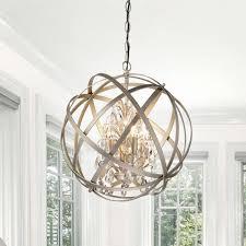 furniture attractive crystal sphere chandelier 7 antique bronze