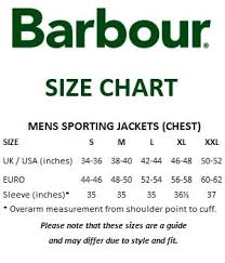 Barbour Size Chart Mens Barbour Sizes Chart Prosvsgijoes Org