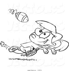 Small Picture Vector of a Cartoon Running Girl Catching a Football Outlined
