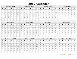 Week Number Calendar Printable 2017 Calendar Calendar Template 2019