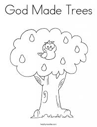 10 Commandments Coloring Pages God Made Trees Coloring Page Sketch