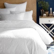 white tonal c embroidered duvet cover shams