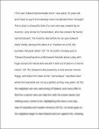 edward scissorhands essay symbolism essay introduction edward  essay on edward scissorhands relationships i first saw edward this preview has intentionally blurred sections sign