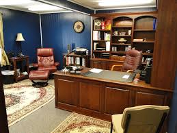 lovely home office setup click. Lovely Custom Home Office Designs With Wooden Opened Shelf And Table Also Brown Leather Setup Click