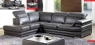 Italian Leather Living Room Furniture Dark Grey Full Genuine Italian Leather Modern Sectional Sofa