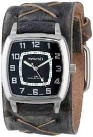 amazon com nemesis men s fxb017k classic vintage stainless steel amazon com nemesis men s fxb017k classic vintage stainless steel watch x stitched charcoal leather cuff watches