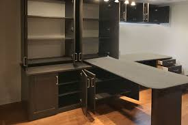 Home office wall desk Built Wall Unit Custom Home Office Desk Lighting And Storage With Foldaway Desk Closet Works Home Office With Hidden Deskfoldaway Desk And Wall Unit