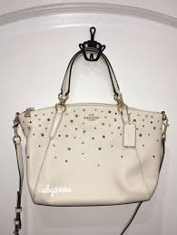 NWT Coach Small Kelsey With Stardust Studs Satchel Crossbody Bag F22312  Chalk