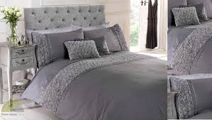 bedding grey silver raised rose duvet quilt cover bed set duvet cover polycotton material bedroom children s