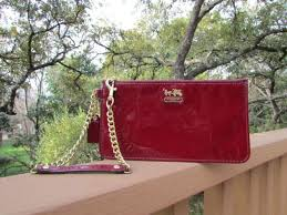 coach madison red crimson patent leather chain wristlet wallet hand bag 47941