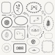 page rustic elements.  Elements Set Of Decorative Black Hand Sketched Rustic Floral Doodle Frames Borders  Dividers Design Elements Drawing Vector Illustration In Page Rustic Elements E