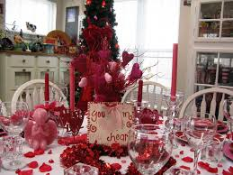 Decorations:Pretty Valentine Dining Table Decorations With Red Candle And  Heart Centerpieces Plus White Railing