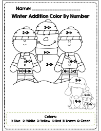 Color By Number Winter Worksheets Many Interesting Cliparts