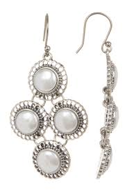 image of lucky brand small pearl chandelier earrings