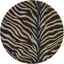 hand tufted brownblue zebra animal print retro chic rug 8 round chic zebra print rug
