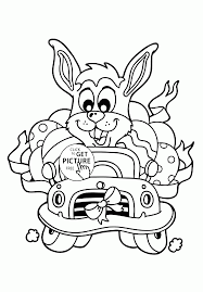 Easter Bunny In The Car Coloring Page For Kids Coloring Pages