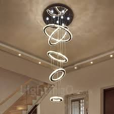 dimmable 5 rings modern led crystal ceiling pendant light indoor chandeliers home hanging down lighting lamps